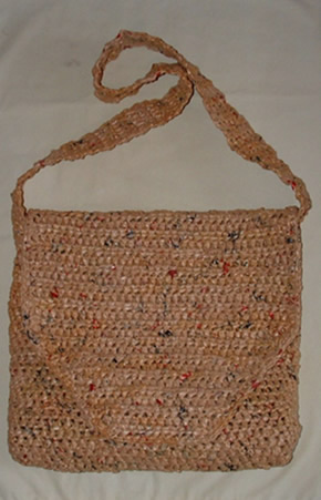 Crocheting Using Plastic Bags : Messenger Bag Crafted from Plastic Bags My Recycled Bags.com