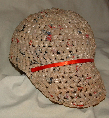 Free Crochet Pattern Using Plastic Bags : Recycled Plastic Baseball Cap My Recycled Bags.com