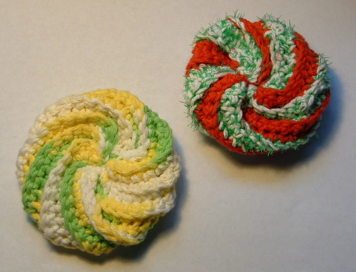 Crochet A Spiral Scrubbie My Recycled Bags Simple Crochet Spiral Scrubbies Pattern