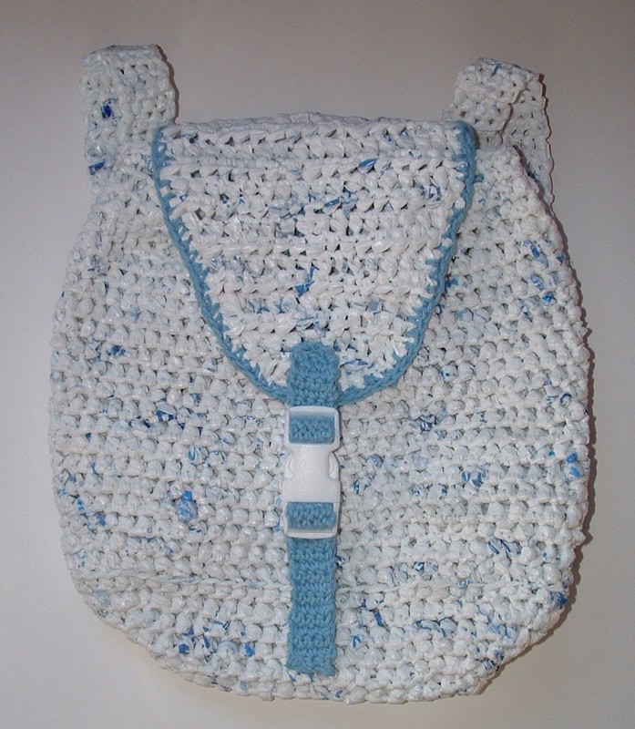 Crochet Backpack Bag Pattern : Recycled Plarn Backpack Pattern My Recycled Bags.com