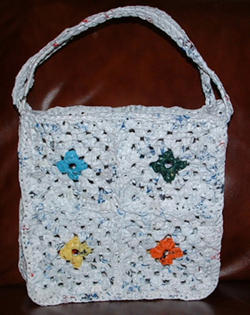 Free Crochet Pattern Using Plastic Bags : Recycled Plastic Granny Square Tote Bag My Recycled Bags.com