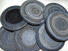 Mixed Rags Upcycle: Denim Coasters via My Recycled Bags