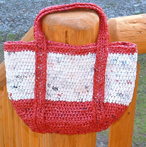 Crochet Patterns For Tote Bags : Satchel Styled Tote Bag My Recycled Bags.com
