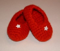 Felted Red Baby Booties
