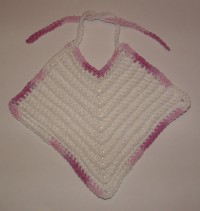 Diagonal Baby Bib with Purple Trim